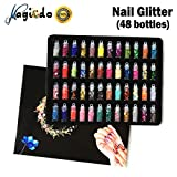 Magicdo Nail Glitter, 3D Nail Art Decoration con Mini Bottles, Art Glitter Set, Polvo Pigment Powder para Proyectos de Arte, Scrapbooking, Uñas, Rostro, Eyes Art, Artesanía DIY, 48 Botellas