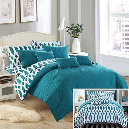 Chic Home 10Stück Tröster-Set inkl. 4Stück Blatt Set, Queen, Blaugrün