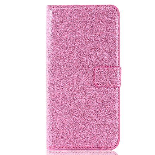 iPhone 8Plus Handytasche, Schön Diamant CLTPY iPhone 7Plus Ledertasche Folio Brieftasche im Bookstyle, Metall Magnetic Closure Etui für Apple iPhone 7Plus/8Plus + 1 x Stift - Schwarz 3 Rosa