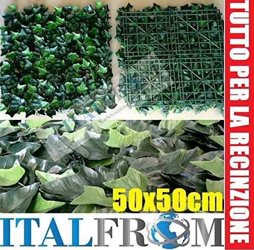 ITALFROM Haie Synthétique Artificielle synthétique Arelle Feuilles d 'Lierre à carrelage 50 x 50 4986