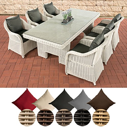 CLP Polyrattan-Sitzgruppe CANDELA inklusive Polsterauflagen | Garten-Set bestehend aus einem Esstisch mit einer pflegeleichten Tischplatte aus Glas und sechs Sesseln | In verschiedenen Farben erhältlich Bezugfarbe: Anthrazit, Rattan Farbe perlweiß