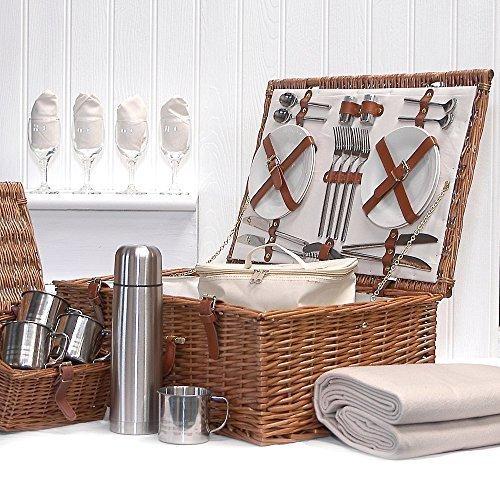 Mit Geschenk-karte Geschenk-korb (Fine Food Store Sandringham Luxus Picknick-Korb aus Rattan für 4Personen Lieferung mit der Zubehör Ideal als Geburtstagsgeschenk/Hochzeit/Weihnachten für Damen)