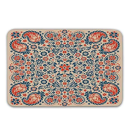 Kinhevao Paisley-Dekor Rutschfester Eingangsgummiteppich, Arabesque Floral Ornate Pattern Kulturelle Folk Persian Middle Eastern Print Fußmatte für die Haustür -