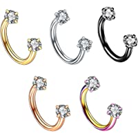 Street27 5pcs Stainless Steel Horseshoe Ring Nose Earring Eyebrow Piercing Jewelry