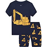 MIXIDON Pijama Corto para Niños Pequeños con Diseño de Dinosaurio y Tren de Algodón PJS, 2 Piezas, Ropa de Dormir para Niños