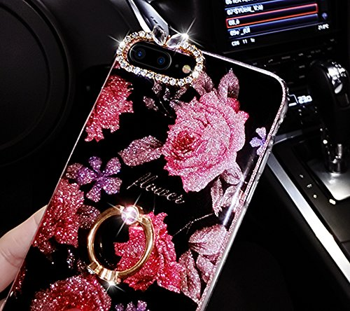 Custodia iphone 7 plus, Sunroyal® Brillante Diamonte iphone 7 plus Case Cover con con Supporto Dellanello e Mano Polsino Morbida Transparente in Silicone Gel Gomma TPU Shock-Absorption Bumper Roses F Strass 01