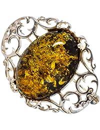 "Baltic Amber, Ámbar Báltico 925 Plata de Ley Broche 1 1/2"""