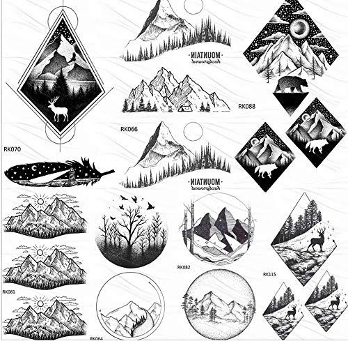 yyyDL Temporäre Tattoo-Aufkleber Black Mountain Forest Schwarz Temporäre Tattoos Für Frauen Aufkleber Baum Dreieck Tattoo Sheets Body Art Gefälschte Tatoos 10 * 6 cm 7 (Mountain Mann Kostüm Kind)