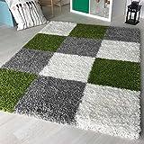 Hochflor Shaggy Teppich kariert in versch. Farben und Größen Langflor Teppiche für Wohnzimmer und Jugendzimmer. (200 x 290 cm, Grün)