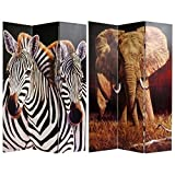 Oriental Furniture On Sale Nature Printed Image Room Dividers, 6-Feet Zebra and Elephant Photo Print Folding Floor Privacy Screen
