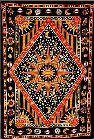 céleste Soleil Lune étoiles Planète Tapisserie, indienne hippie Décoration murale à suspendre, Bohemian Couvre-lit, Mandala Coton Décoration de Dortoir de plage