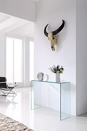 Crystal Modern Bent Curved Clear Glass Console Table (Large)   (110cm X 35cm