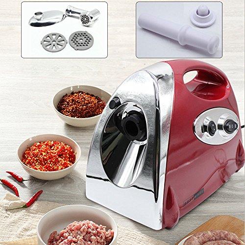 Chofesleu Elektrischer Fleischwolf, 2800W Zubehör für die Herstellung von Fleischwurstwürfeln (3 austauschbare Stahlklingen zum Zerkleinern verschiedener Fleischstärken) (Rot)