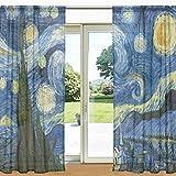ALAZA Sternennacht Van Gogh Ölgemälde Sheer Fenster und Tür-Vorhang 2 Panels 55