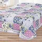Delindo Lifestyle Tagesdecke Bettüberwurf PATCHWORK / für Doppelbett / Landhaus blau lila / 220x240 cm