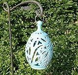 handgefertigtes Windlicht/Laterne aus echter Terracotta, zum Hängen und Stellen, Tolle Deko für den Garten/Terrasse Tisch (Blau)