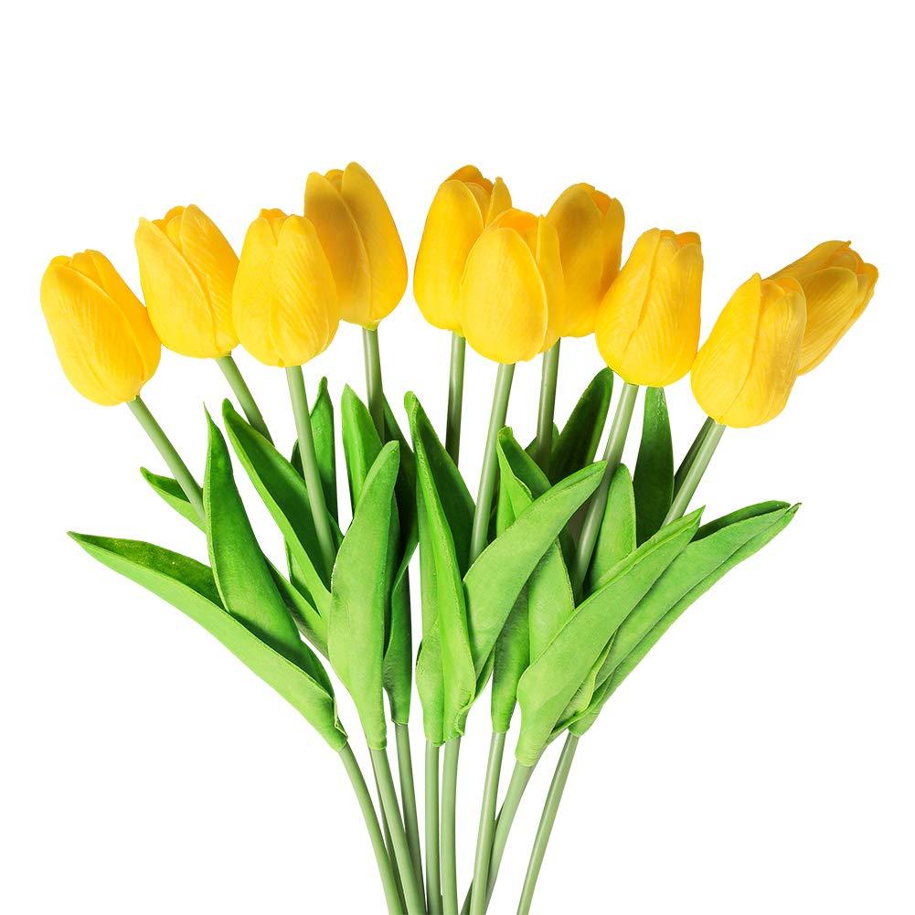 Veryhome 10 unids Tulipanes Artificiales Tulipanes Flores Reales Falsas para la decoración de la Boda del Partido del…
