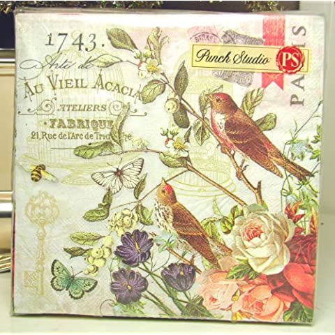 40 Ct Punch Studio Boutique Paper Luncheon Napkins #95902 Fleur de Triomphe, Bird Cage Sparrow & Roses by Punch Studio