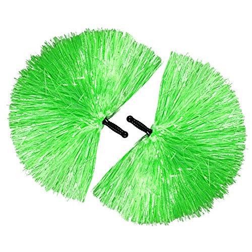 COM-FOUR® 2x Cheerleader PomPom in grün (02 Stück - grün/schwarzer Griff) (Cheerleader-grün)