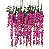 Luyue Künstliche Glyzinen-Blumenranken zum Aufhängen, Seidenblumen, Hochzeitsdeko 1,4m, 6Stück rosarot
