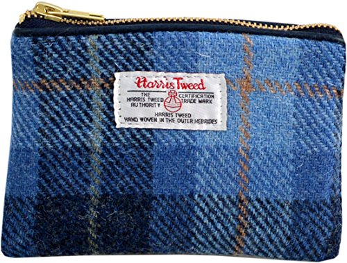 Vagabond Bags Harris Tweed Blue Check Cosmetic Bag Kulturtasche, 16 cm, Blau (Mid Blue) (Harris Tweed)