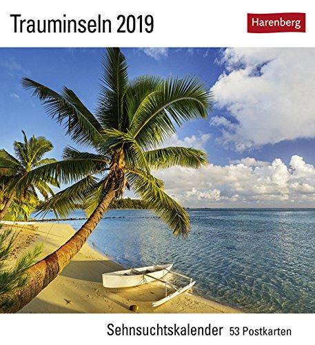 Sehnsuchtskalender Trauminseln - Kalender 2019 - Harenberg-Verlag - Postkartenkalender mit 53 heraustrennbaren Postkarten - 16 cm x 17,5 cm