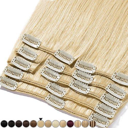 Extension capelli veri clip 8 fasce remy human hair full head xl set lisci lunga 8 pollici 20cm pesa 65grammi, #24 biondo naturale