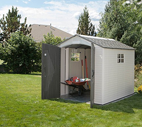 Lifetime Kunststoff Gerätehaus, Gartenhaus und Gartenschuppen Phoenix//213x286 cm (BxT)//Satteldach Geräteschuppen