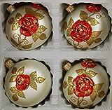 Matte silberne Weihnachtskugeln aus Glas mit aufgesetzten roten Rosen und goldenen Blättern (3 D Optik) - Durchmesser 10 cm 4 Set