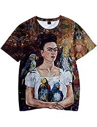 SIMYJOY Frida Kahlo Camiseta con Estampado de Unisex Estampado en 3D  Camiseta con Estampado de Artista 43891357ba719