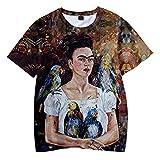 SIMYJOY Unisex Frida Kahlo Poster T-Shirt 3D Druck Mexikanischen Künstler Vintage-Stil T-Shirt Cool Modern Rockabilly Sommer Streetwear Tee für Männer Frauen Jugenden S