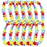 10 Pièces Fleur Hawaï Collier Hawaien pour la Robe, le Collier et la Plage (Multicolor A)