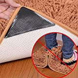 #6: Pearl ACE The Amazing Reusable Rug Grippers RUGGIES Carpet Mat Non Slip Grip Corners Magic Pad Anti Skid for Rug Washable Silicone Grip Mat 4pcs/Set