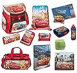 Familando Schulranzen Set Disney Cars 19tlg. Sporttasche, Federmappe, Regen/Sicherheitshülle gelb CAGR8252