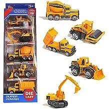 Camiones de Construcción Car Model,Vehículos de Mini Coches Juguetes Set para Niños 3 4 5 Años (5 Pedazos)