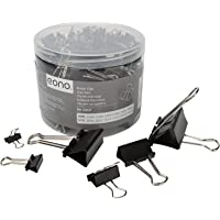 Amazon Brand - Eono Black Binder Clips, 100pcs Assorted Size Foldback Metal Binder Paper Clamps for Paperwork, Extra…