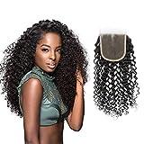 Malaika - Extensiones de pelo negro rizado 9A, cabello virgen humano sin procesar, con cierre de encaje de 10,16 x 10,16 cm