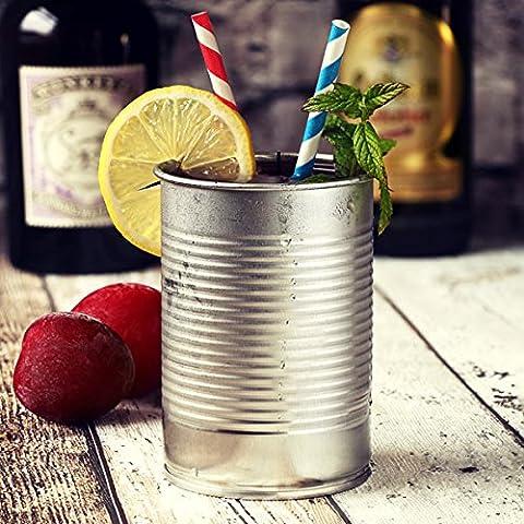 Argent Boîte Cocktail Tasse 10oz/280ml–Set de 4mugs–Cocktail fantaisie en forme de pouf peut