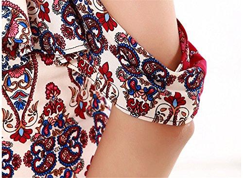 JOTHIN 2017 Nouvelles Européennes et Américaines les Femmes Mode V-cou Imprimé Robe de Mis Sur Une Grande Jupe Taille Haute Robe Rouge