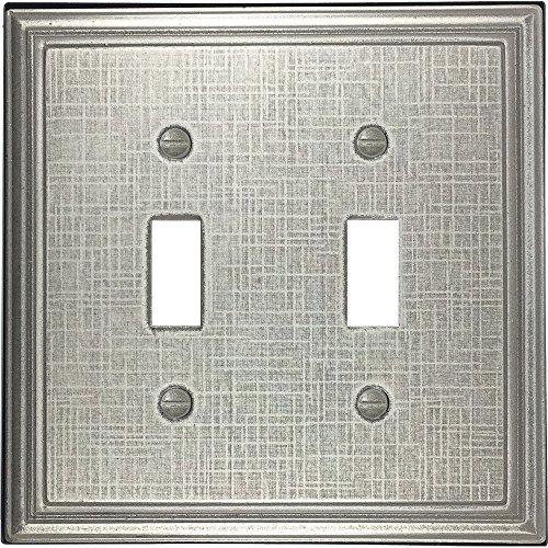Double Switch Wall Plate (Leinen strukturiert Metallic Dekorative Switch Plate/Wandplatte/Auslass Cover Doppelter Kippschalter Double Toggle Brushed Nickel Eggshell)