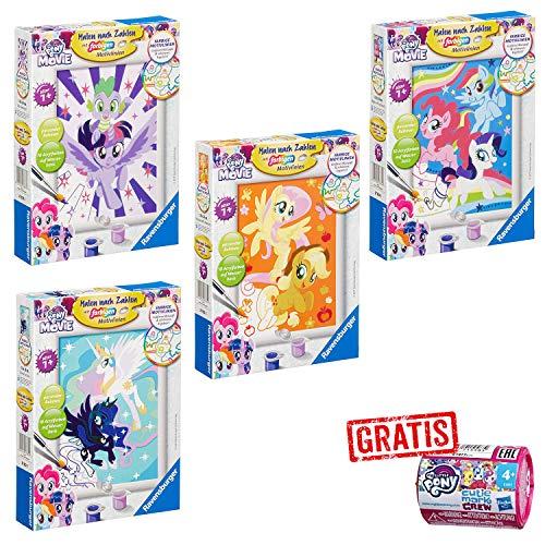 SPAR-SET 173453 - My Little Pony - 4 x Malen nach Zahlen mit farbigen Motiven + kleine Ponys im Überraschungs-Häuschen