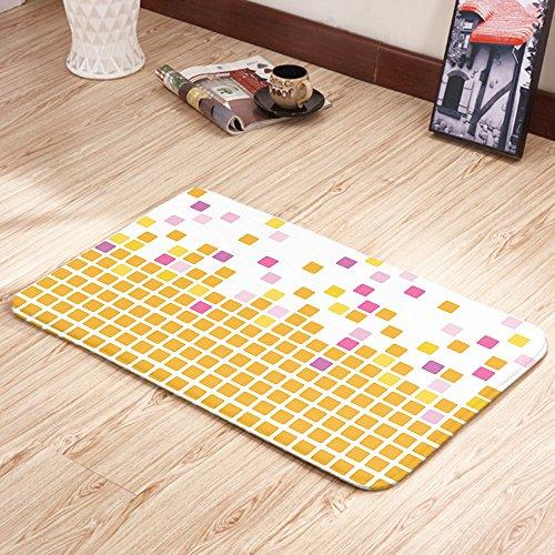 Moslion Doormats Orange Pink Simple Mosaic Multicolor Rectangular Doormat Decorative Indoor/Outdoor Cover Rug 18 X 31 Inch