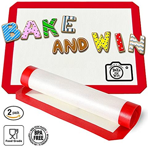 Bake and Win Nonstick Silicone Baking Mat. Large Half Sheet: 16 1/2 inches x 11 5/8 inches by Bake and Win