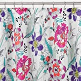 mDesign Watercolor Floral - Cortina de tela, para cubículo de ducha, 183 x 183 cm - Brillante/multicolor