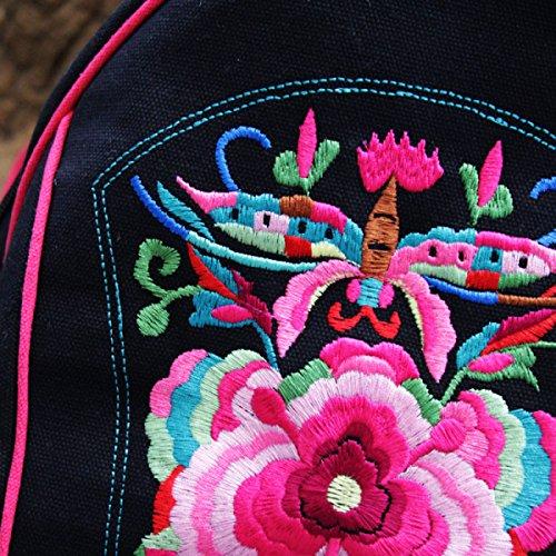 Nationale Art Stickerei Blumen Schulter BagGirls Tasche Rucksack Schwarz Black