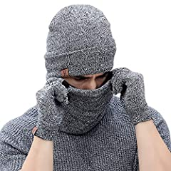 Idea Regalo - Bequemer Laden Cappello Berretto Invernale da Uomo + Sciarpa + Guanti Touch Screen Set da 3 Pezzi di Abbigliamento Invernale Caldo per Uomo