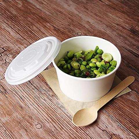 kompostierbar Suppe Behälter und Deckel 12oz/340ml–50Stück–Essen biologisch abbaubar mitnehmen Tubs