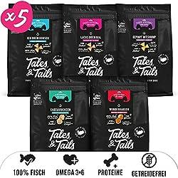 Friandises pour chiens - 100% Poisson - Naturelles, sans sucre, sans céréales, riches en oméga 3 - Croquettes pour chiens de Tales&Tails® - 5 Sachets de snacks pour chiens - Différentes variétés