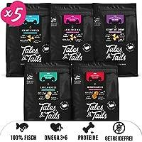 Tales & Tails® - Hunde Leckerlis aus 100% Fisch | Probepaket mit 5 Sorten Hundesnacks | Natürlich, Zuckerfrei, Getreidefrei, reich an Omega 3 | Je 1x Dorsch, Lachs, Shrimp, Kabeljau, Barsch | 5 Tüten