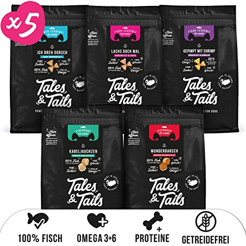 Tales & Tails® - Hunde Leckerlis aus 100% Fisch | Probepaket mit 5 Sorten Hundesnacks | Natürlich, Zuckerfrei, Getreidefrei, reich an Omega 3 | Je 1x Dorsch, Lachs, Shrimp, Kabeljau, Barsch | 5 Tüten -